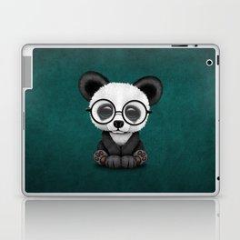 Cute Panda Bear Cub with Eye Glasses on Teal Blue Laptop & iPad Skin