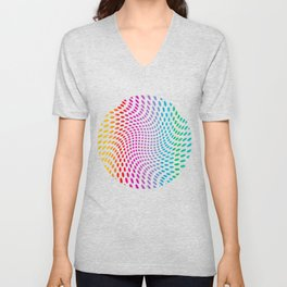 Approaching and receding shapes in CMYK - Optical game 17 Unisex V-Neck