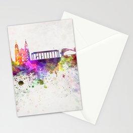 Minsk skyline in watercolor background Stationery Cards