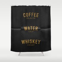 whiskey Shower Curtains featuring Coffee Water & Whiskey by Joe Young