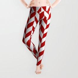 Red and White Herringbone Pattern Leggings
