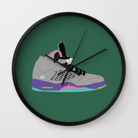 air jordan Wall Clocks featuring Air Jordan 5 by Dennis Cortes