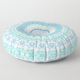 Blue, Green and White Mandala 02 Floor Pillow