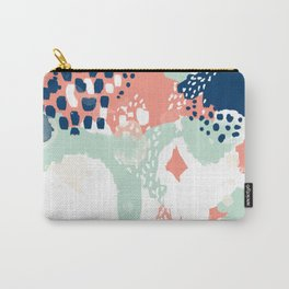 Kayl - abstract painting minimal coral mint navy color palette boho hipster decor nursery Carry-All Pouch