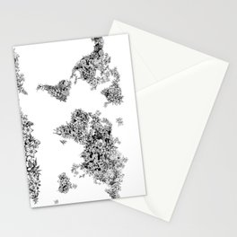 floral world map black and white Stationery Cards