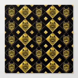 Gold and Black Tribal Wolf Pattern Canvas Print