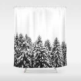 White Snow Forest No1 Shower Curtain