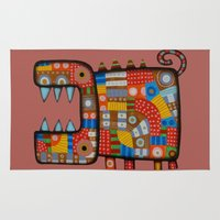 hippo Area & Throw Rugs featuring Dog hippo by Rudolf Brancovsky