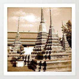 Wat Po temple in Thailand (Bangkok & Travel) - Thai Massage School (square) Art Print