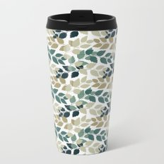 Twigs with leaves. Seamless pattern. Turkuoise and beige Metal Travel Mug