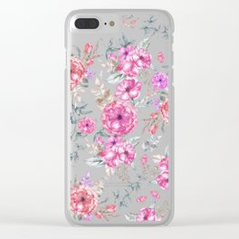 Modern Bohemian pink coral lavender watercolor flowers Clear iPhone Case