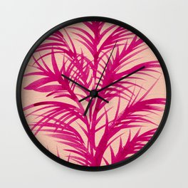 Pink Palms Wall Clock