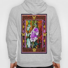 Rustic Hollyhocks Garden Butterfly Western Abstract Art Hoody