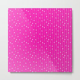 Christmas Baubles on Festive Tinsel Streamers Neon Pink Metal Print