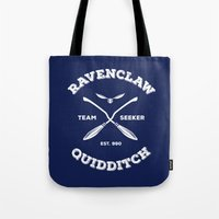 quidditch Tote Bags featuring Ravenclaw Quidditch Team Seeker: Blue by Sharayah Mitchell