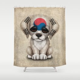 Cute Puppy Dog with flag of South Korea Shower Curtain