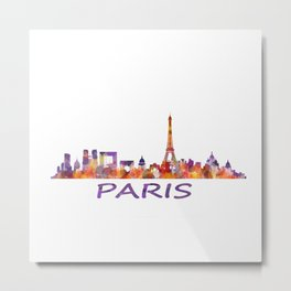 París City Skyline HQ Watercolor Metal Print