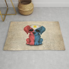 Cute Puppy Dog with flag of The Philippines Rug