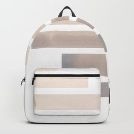 Grey Midcentury Modern Minimalist Staggered Stripes Rectangle Geometric Aztec Pattern Watercolor Art Backpack