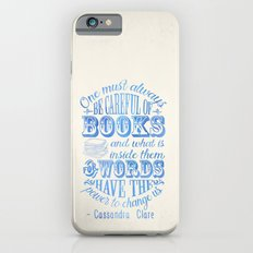 Be Careful Of Books - White and Blue iPhone 6 Slim Case