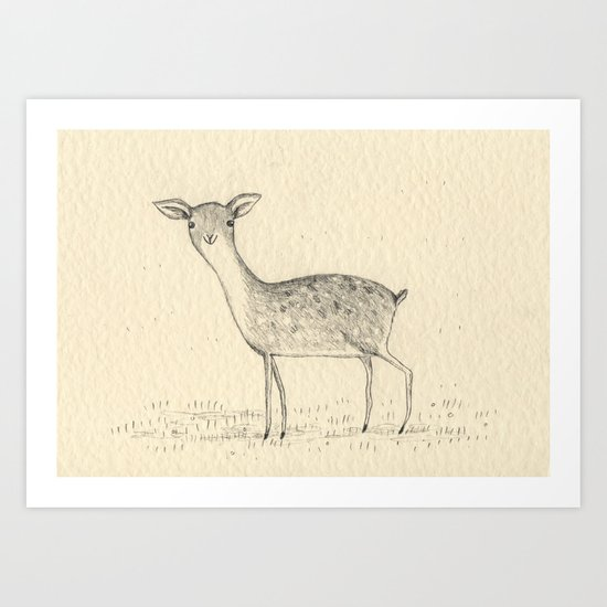 Monochrome Deer Art Print