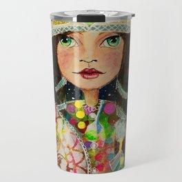 Mixed Media Warrior Princess Travel Mug
