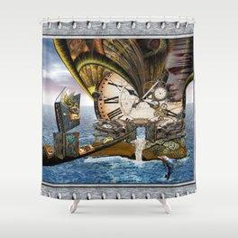 Steampunk Ocean Dragon Library Shower Curtain
