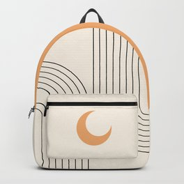 Geometric Lines in Black and Beige 18 (Rainbow and Moon Abstraction) Backpack