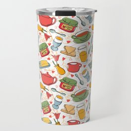Hand Drawn Breakfast Food and Drinks Pattern Travel Mug