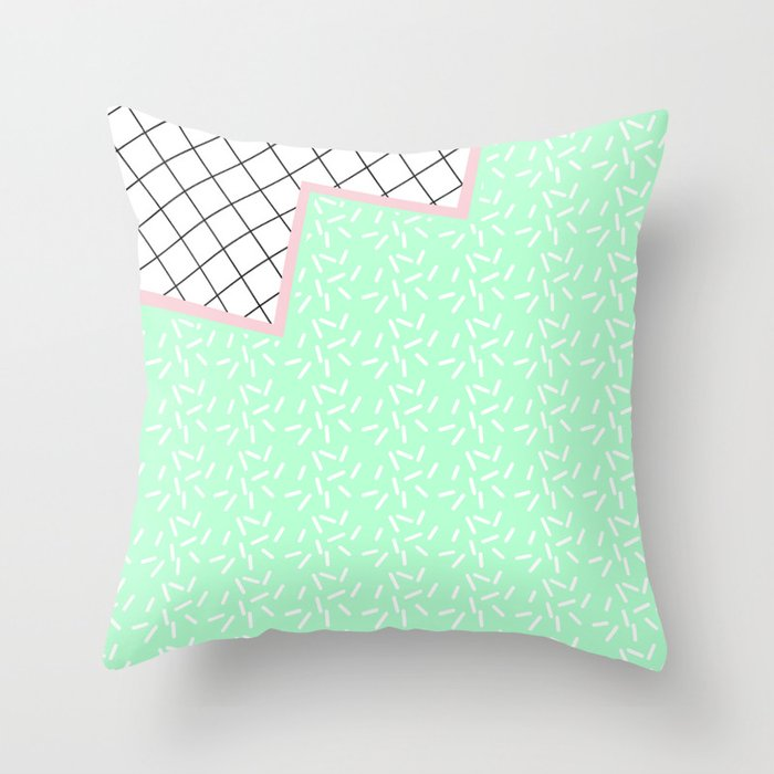 MEMPHIS GREEN Throw Pillow