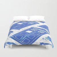 tardis Duvet Covers featuring tardis by Kim Codner Designs