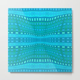 Wavy Aqua Green Intricate Stripes Metal Print