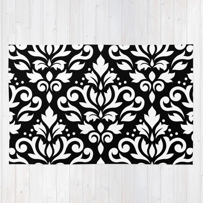 Scroll Damask Big Pattern White on Black Rug