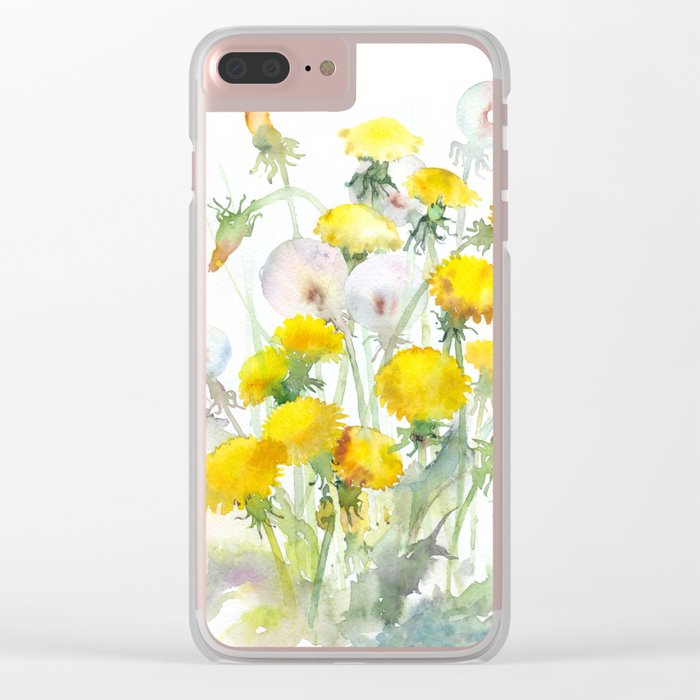 Watercolor yellow flowers dandelions Clear iPhone Case
