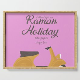 Roman Holiday, Audrey Hepburn,movie poster, Gregory Peck, William Wyler, romantic hollywood film Serving Tray