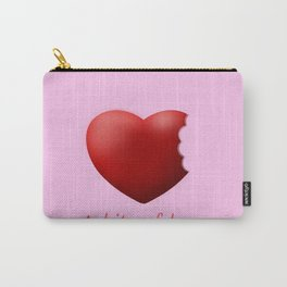a bite of love (nibbled heart) pink Carry-All Pouch