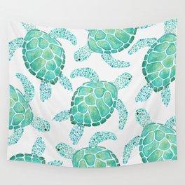 Sea Turtle Pattern - Blue Wall Tapestry