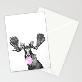 Bubble Gum Moose in Black and White Stationery Cards