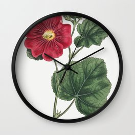 Seringapatam A Hollyhock (Alcea Rosea) (1815) Image from The Botanical Magazine or Flower Garden Dis Wall Clock