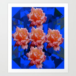 Decorative Old Roses on Sapphire Blue Abstract Field Art Print