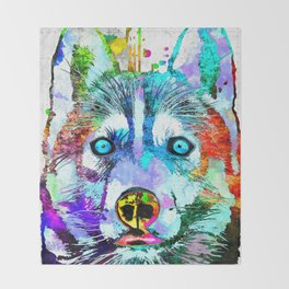 Husky Dog Watercolor Grunge Throw Blanket