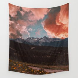 Pink Clouds and Mountains Wall Tapestry