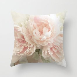 Shabby Chic Cottage Pastel Pink Peony Prints and Peony Home Decor Throw Pillow