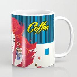 """Beautiful Fashion Woman and Coffee Cup"" POP-ART poster, Retro, Design Coffee Mug"