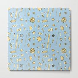 Pasta pattern blue Metal Print