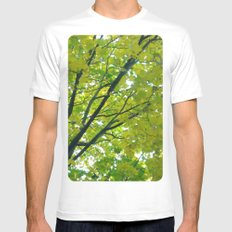 Lush ~ yellow-green leaves 4 U! ~ summer tree White SMALL Mens Fitted Tee