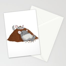 Chinchillas in a pile of poop Stationery Cards