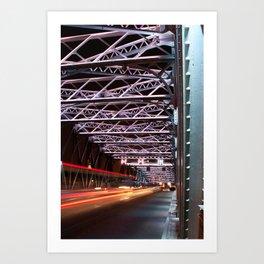 Shanghai Waibaidu bridge by night Art Print