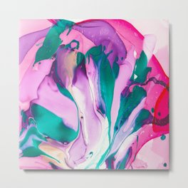 Iris Explosion, Original Abstract Marble Painting Metal Print