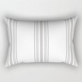 Farmhouse Ticking Stripes in Gray on White Rectangular Pillow